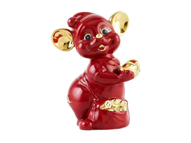 Chuột Quý 16 cm – Màu Đỏ - Trang trí vàng 24K