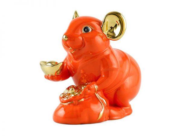 Chuột Phú 13 cm – Màu Cam - Trang trí vàng 24K