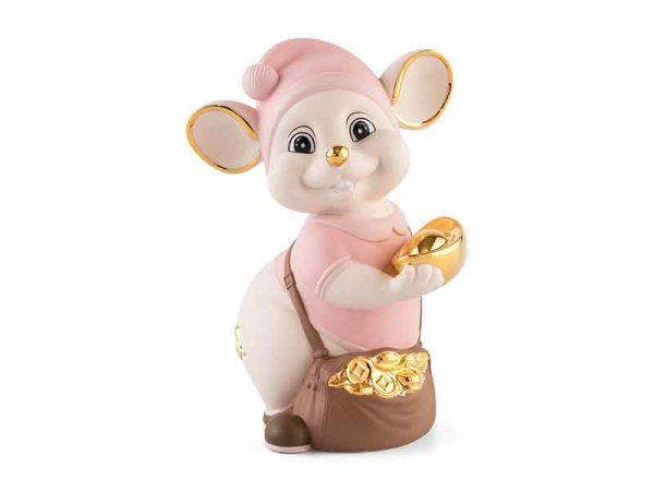 Chuột Quý 16 cm (màu Matt) - Hồng - Họa tiết trang trí vàng