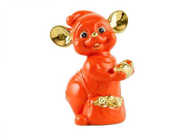 Chuột Quý 24 cm – Màu Cam - Trang trí vàng 24K