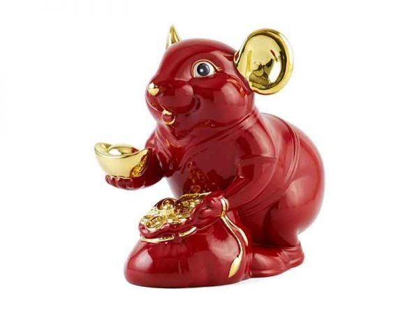 Chuột Phú 8 cm – Màu Đỏ - Trang trí vàng 24K