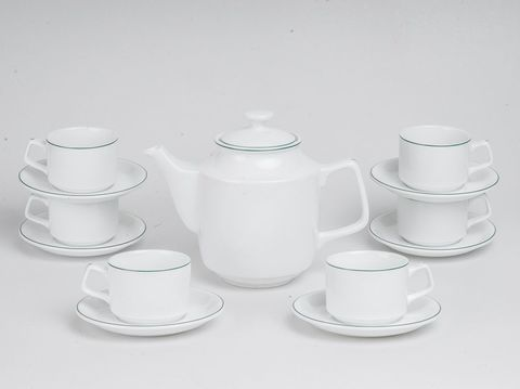 Bộ trà Minh Long 0.7 L Jasmine Kẻ Chỉ Xanh
