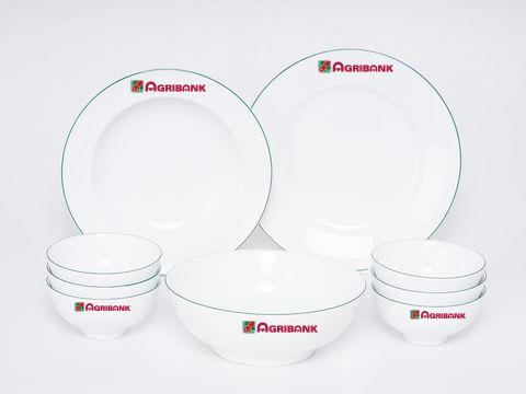Bộ Đồ Ăn Minh Long Jasmine Xanh Chỉ 9 Sp Giá In Logo Agribank