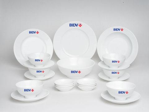 Bộ Đồ Ăn Minh Long Jasmine Trắng 22 Sp Giá In Logo BIDV